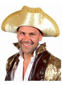 Hoed piraat luxe driespits goudkleurig