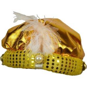 Sultanhoed goud met veer