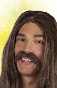 Snor hippie bruin zelfklevend