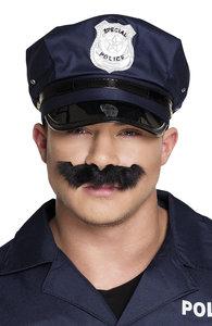 Snor politie zwart  zelfklevend