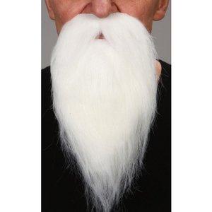 Snor met baard (lengte ca. 18 cm) wit zelfklevend