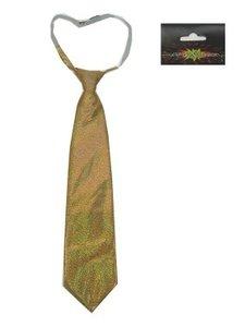 Stropdas glitter hologram goud ca. 40 cm