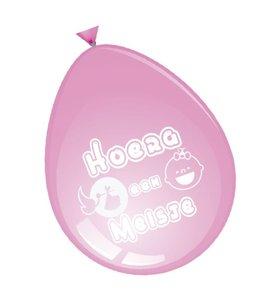 Ballonnen roze  'hoera een meisje' 8 stuks  30 cm