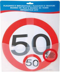 Placemats (4x) en Onderzetters (4x) Verkeersbord 50