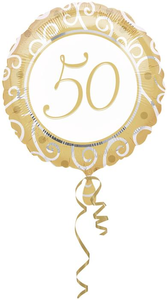 Folieballon rond '50' goud