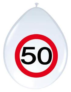 Ballonnen Verkeersbord '50' 8 stuks