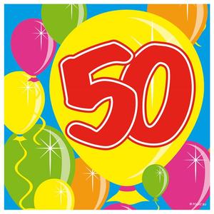 Servetten ballonprint '50' 20 stuks