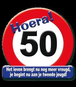Huldeschild 'verkeersbord 'hoera 50