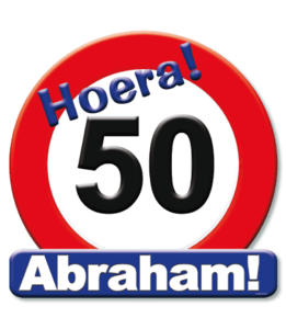Huldeschild 'verkeersbord 'hoera 50 Abraham'