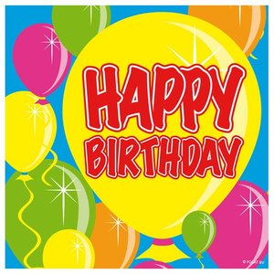 Servetten ballondecor 'Happy birthday'  20 stuks