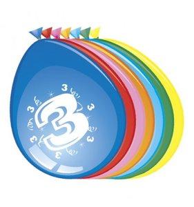 Ballonnen rond 8 stuks opdruk '3'