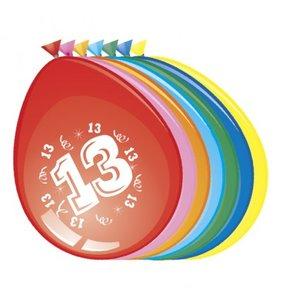 Ballonnen rond 8 stuks opdruk '13'