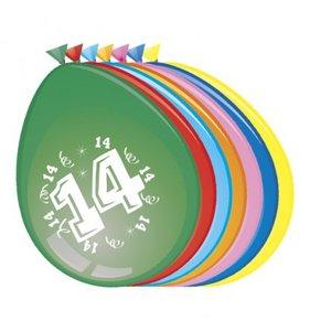 Ballonnen rond 8 stuks opdruk '14'