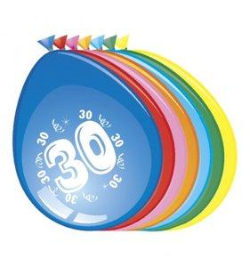 Ballonnen rond 8 stuks opdruk '30'