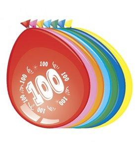 Ballonnen rond 8 stuks opdruk '100'