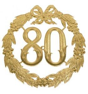 Hulde deco lauwerkrans  goud 80