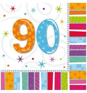 Servetten radiant gekleurd '90' 16 stuks