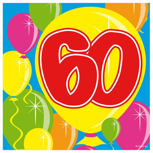 Servetten ballonprint '60' 20 stuks