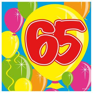 Servetten ballonprint '65' 20 stuks