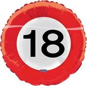 Folie ballon verkeersbord '18'