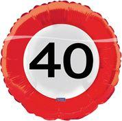 Folie ballon Verkeersbord '40'