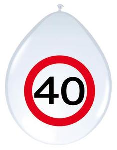 Ballonnen Verkeersbord '40' 8 stuks