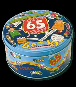 Snoeptrommel 'Hoera 65 jaar' (leeg)