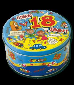 Snoeptrommel 'Hoera 18 jaar' (leeg)