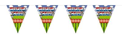 Vlaggenlijn 'Welkom thuis'  rood-wit-blauw met tulpen 6 mtr