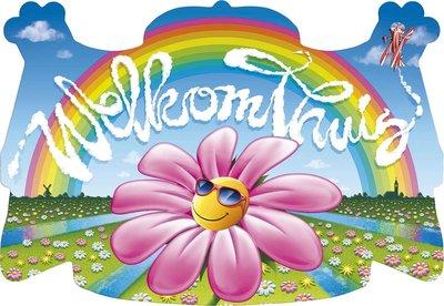 Huldeschild 'Welkom thuis' bloem
