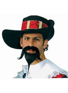 Musketier hoed zwart vilt luxe met rode band en gesp