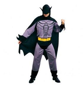 Vleermuisman: jumpsuit, hoofdkap met cape, riem