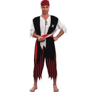 Piraat 4 delig: shirt, vest, 3/4 broek en bandana, one size maat M/L
