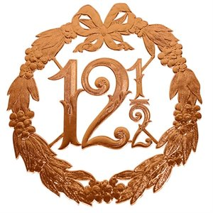 Hulde deco lauwerkrans  brons 12,5 24x24