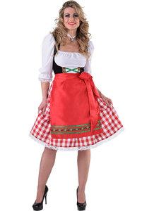 Dirndl jurk rood-wit