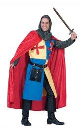 Ridder Richard, tunique met cape en hoofdkap, riem met tas en beenkappen.