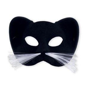 Katten masker zwart met haar