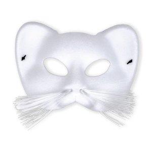 Kattenmasker wit met snorharen