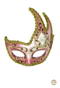 Venetiaans Masker Colombina Onda Mozart Roze Goud Feestartikelenshop Com