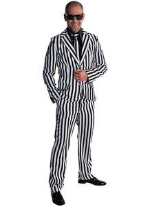 Magic kostuum 3 delig wit-zwart gestreept: colbert, broek en das.