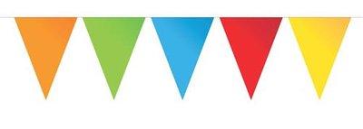 Vlaggenlijn met plastic puntvlaggen diverse kleuren 10 meter