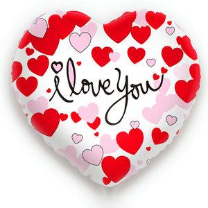 Folieballon I Love You Hartvorm Wit Met Rode En Roze Hartje 49 X 46