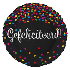 Folieballon 'Gefeliciteerd' glitter holografisch 43 cm