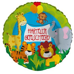 Folieballon 'Hartelijk gefeliciteerd' jungle 43 cm