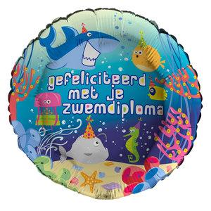 Folieballon 'Gefeliciteerd met je zwemdiploma' 43 cm