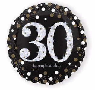 Ballonnen zwart goud 30 jaar
