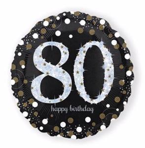 Ballonnen zwart goud 80 jaar